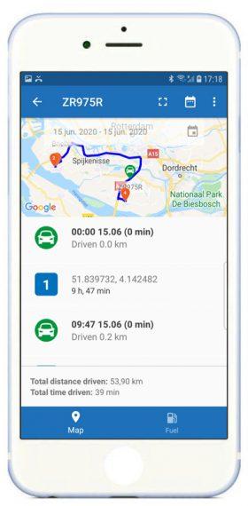 App-route-voertuig-iphone